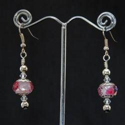 Silver hook earrings with pink faceted glass beads and looped top with swarovski crystals