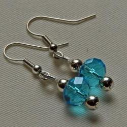 Silver hook earrings with blue faceted glass beads and looped top, to match handfasting cord
