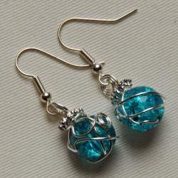 Silver earrings with wire wrapped blue glass crackle beads and looped top, to match handfasting cord