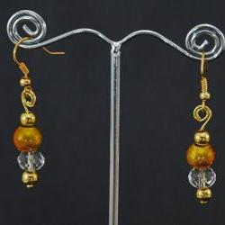 Gold earrings with crystal detail and looped top, to match handfasting cord